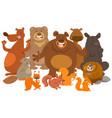 wild mammals animal characters cartoon vector image