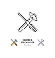 hammer and screwdriver icons repair sign vector image