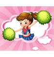 A cheerleader with green pompoms inside a cloud vector | Price: 1 Credit (USD $1)