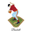 baseball pitcher throwing ball flat vector image