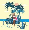 beautiful woman character in bikini with beach bag vector image