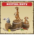 Bestial duty A funny scene with wild animal vector image vector image