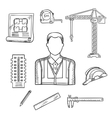 Builder or engineer profession sketches vector image