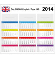 Calendar 2014 English Type 19B vector image vector image