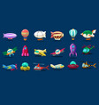 cartoon set of different types of aircrafts alien vector image