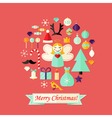 Christmas Card with Flat Icons Set and Angel Red vector image vector image
