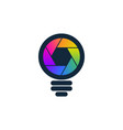 colorful shutter shaped bulb icon vector image vector image