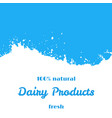 dairy natural products fresh milk splash wave vector image vector image