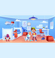 dog robot and boy playing at home robotics puppy vector image vector image