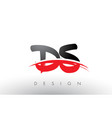 ds d s brush logo letters with red and black vector image vector image