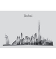 Dubai city skyline silhouette in grayscale vector image