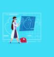 female doctor cardiologist examining digital heart vector image
