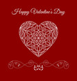 fretwork floral heart over red happy vector image vector image
