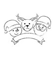 group of christmas characters vector image