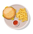 Hamburger and french fries isolated on white vector image