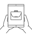 hands holding tablet computer linear icon vector image vector image