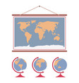 hanging world map and set of globes on wooden vector image