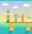 happy family go fishing in vector image vector image
