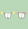 happy healthy white teeth are weightlifting vector image