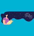 happy mothers day card of woman with baby vector image vector image