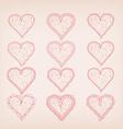 hearts doodle frame set for wedding and valentine vector image vector image