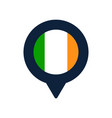 ireland flag and map pointer icon national flag vector image
