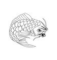 Koi Carp Fish Jumping Line Drawing vector image vector image