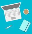 laptop and notebook and office supplies top view vector image vector image