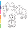 little baby with clocks time for baby children vector image vector image