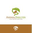 logo of bird sheltered under leaf vector image vector image