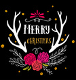 Merry Christmas retro hipster poster with hand vector image