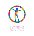 modern human silhouette in circle logotype vector image vector image