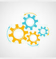 orange and blue cog and gear cooperation concept vector image