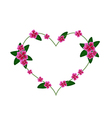 Pink Cape Periwinkle Flowers in A Heart Shape vector image vector image