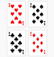 Playing Cards Showing Eights from Each Suit vector image