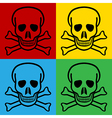 Pop art skull and bones danger sign icons vector image vector image