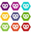 pretzel icons set 9 vector image vector image