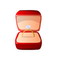 red velvet opened gift box with diamond ring vector image vector image