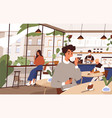 scene social distancing at cafeteria people vector image