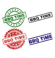 scratched textured bbq time stamp seals vector image vector image