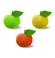 set of colored apples vector image vector image