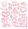 set of hand drawn doodle love elements for wedding vector image