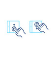 set of mobile tablet with up down swipe gesture vector image