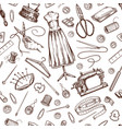 sewing seamless pattern tools and elements or vector image vector image