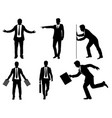 six businessmen silhouette vector image vector image