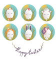 sweet easter egg characters in the grass funny vector image vector image