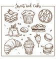 sweets and cakes isolated dishes food desserts vector image