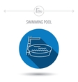 Swimming pool icon Jumping into water sign vector image