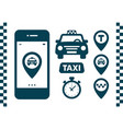 taxi icons set flat style dark icons on white vector image vector image