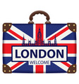 travel suitcase with flag of britain and big ben vector image